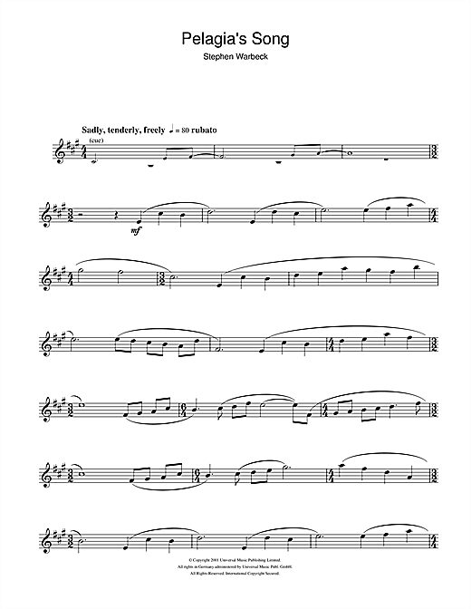 Stephen Warbeck Pelagia's Song (from Captain Corelli's Mandolin) sheet music notes and chords. Download Printable PDF.