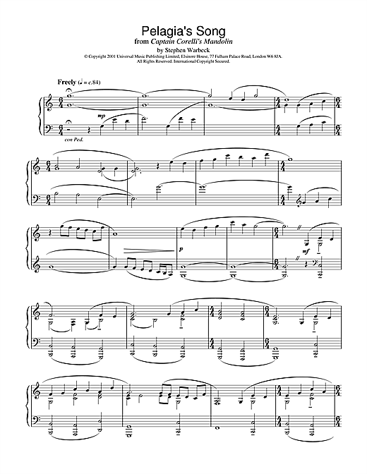 Stephen Warbeck Pelagia's Song (Ricordo Ancor) (from Captain Corelli's Mandolin) sheet music notes and chords