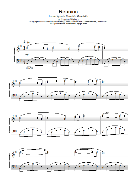 Stephen Warbeck Reunion (from Captain Corelli's Mandolin) sheet music notes and chords. Download Printable PDF.