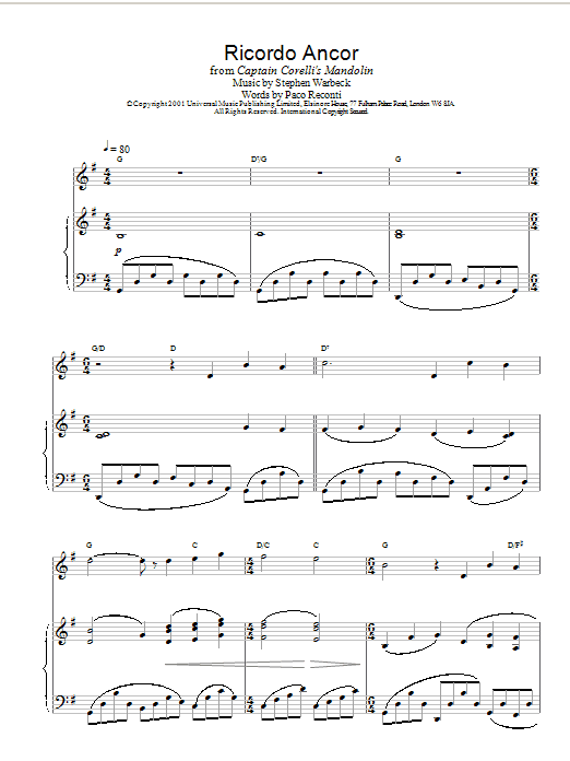 Stephen Warbeck Pelagia's Song (Ricordo Ancor) (from Captain Corelli's Mandolin) sheet music notes and chords. Download Printable PDF.