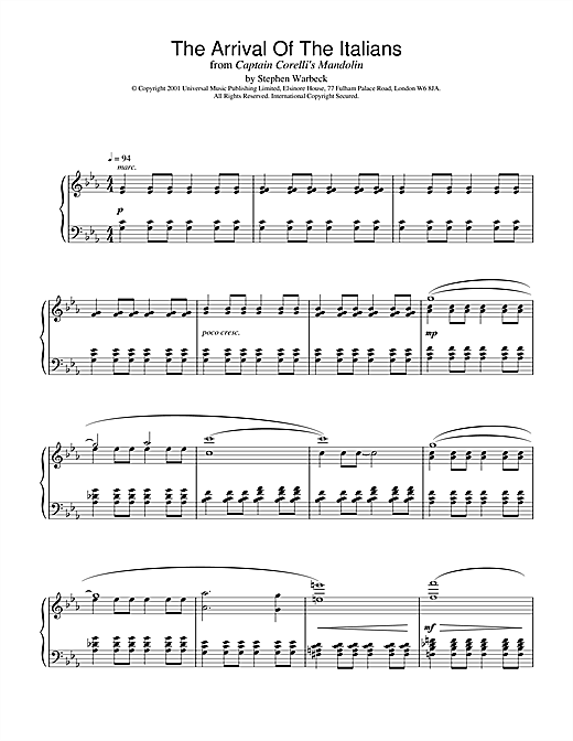 Stephen Warbeck The Arrival Of The Italians (from Captain Corelli's Mandolin) sheet music notes and chords
