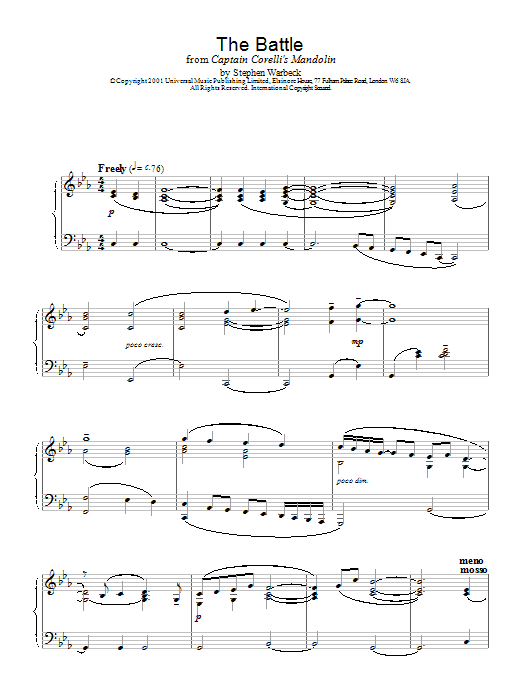 Stephen Warbeck The Battle (from Captain Corelli's Mandolin) sheet music notes and chords. Download Printable PDF.