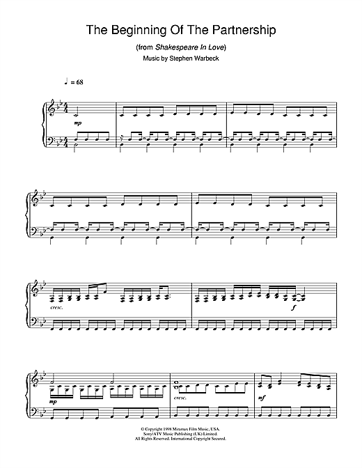 Stephen Warbeck The Beginning Of The Partnership (from Shakespeare In Love) sheet music notes and chords. Download Printable PDF.
