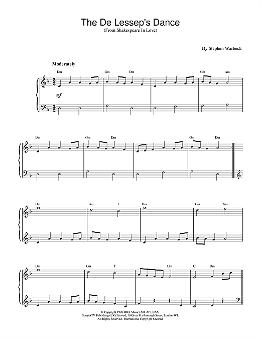 Stephen Warbeck The De Lessep's Dance (from Shakespeare In Love) sheet music notes and chords
