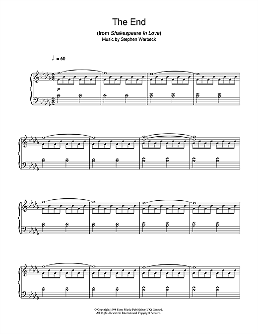 Stephen Warbeck The End (from Shakespeare In Love) sheet music notes and chords
