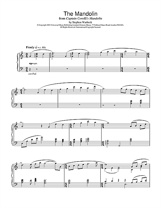 Stephen Warbeck The Mandolin (from Captain Corelli's Mandolin) sheet music notes and chords