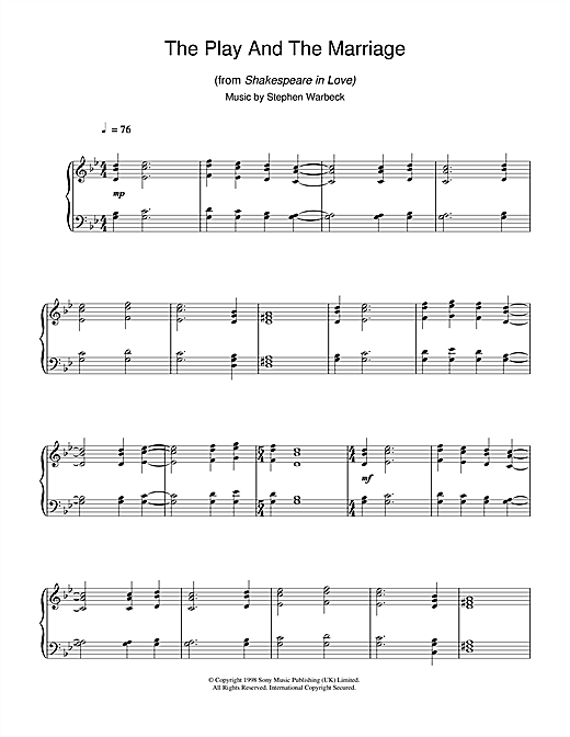 Stephen Warbeck The Play And The Marriage (from Shakespeare In Love) sheet music notes and chords. Download Printable PDF.