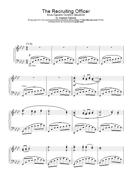 Stephen Warbeck The Recruiting Officer (from Captain Corelli's Mandolin) sheet music notes and chords. Download Printable PDF.