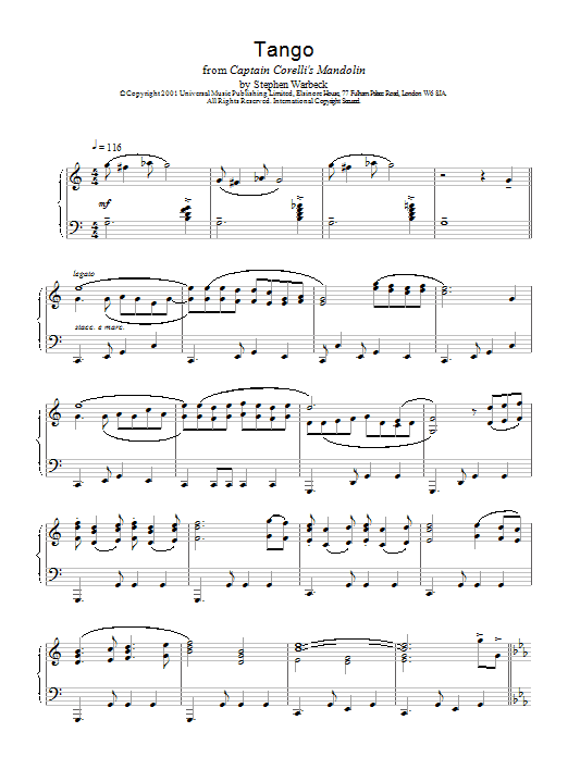 Stephen Warbeck The Tango (from Captain Corelli's Mandolin) sheet music notes and chords. Download Printable PDF.