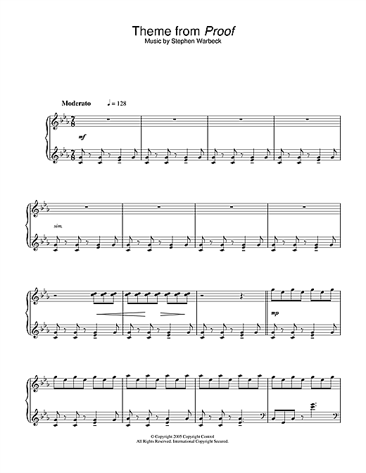 Stephen Warbeck Theme from Proof sheet music notes and chords