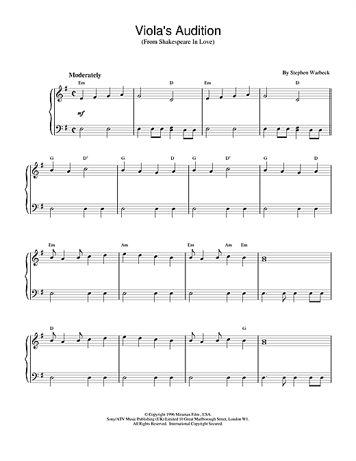 Stephen Warbeck Viola's Audition (from Shakespeare In Love) sheet music notes and chords