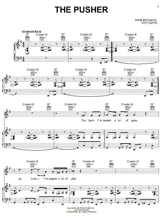 Steppenwolf The Pusher sheet music notes and chords
