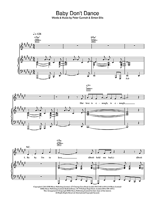 Steps Baby Don't Dance sheet music notes and chords. Download Printable PDF.
