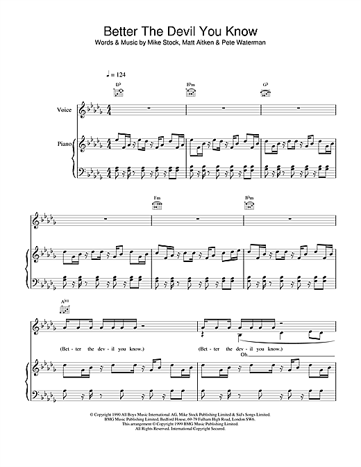 Steps Better The Devil You Know sheet music notes and chords. Download Printable PDF.