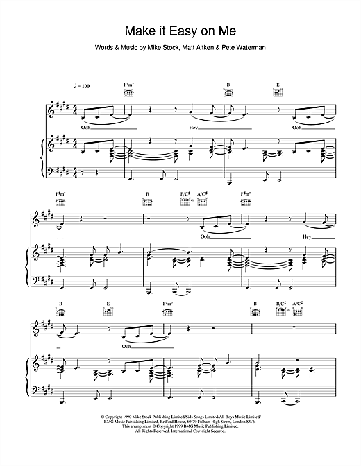 Steps Make It Easy On Me sheet music notes and chords
