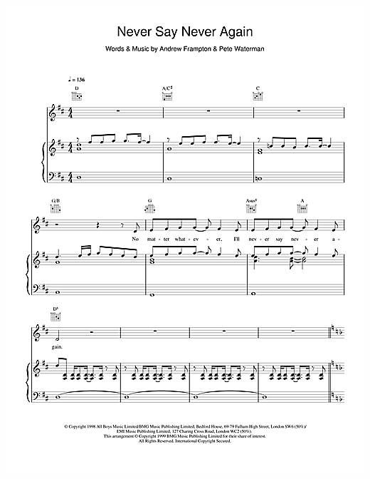 Steps Never Say Never Again sheet music notes and chords