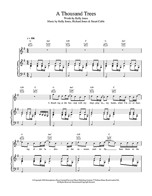 Stereophonics A Thousand Trees sheet music notes and chords