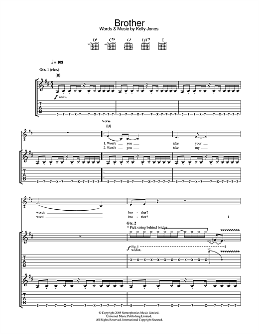 Stereophonics Brother sheet music notes and chords. Download Printable PDF.