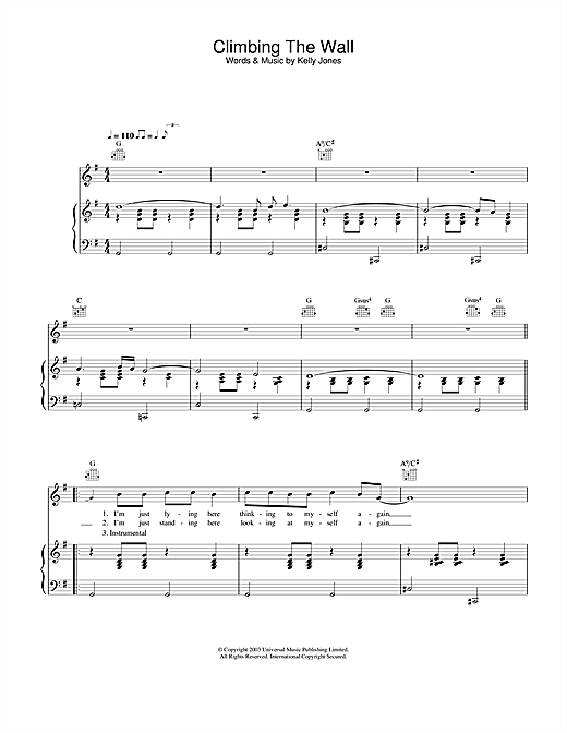 Stereophonics Climbing The Wall sheet music notes and chords. Download Printable PDF.