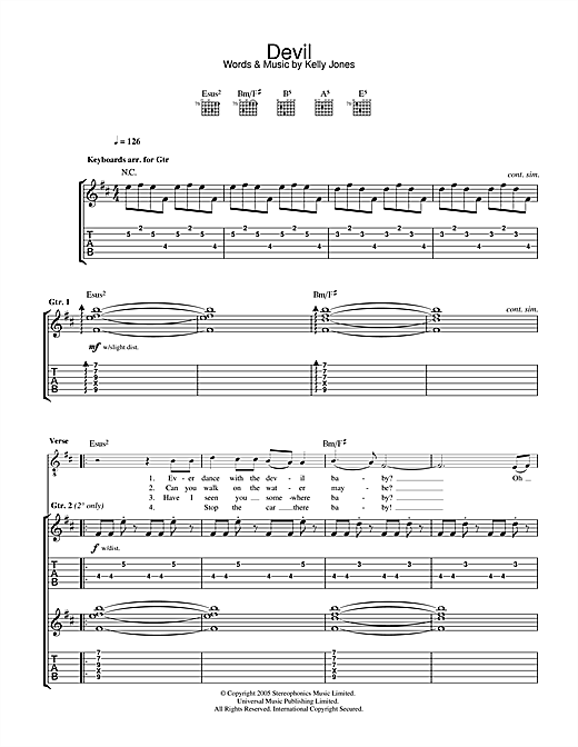 Stereophonics Devil sheet music notes and chords. Download Printable PDF.