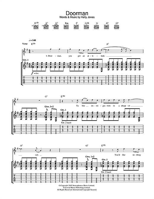 Stereophonics Doorman sheet music notes and chords. Download Printable PDF.