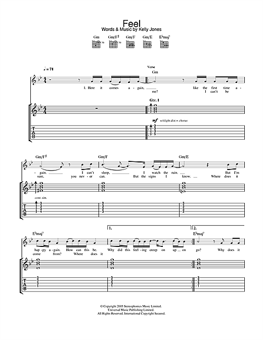 Stereophonics Feel sheet music notes and chords. Download Printable PDF.