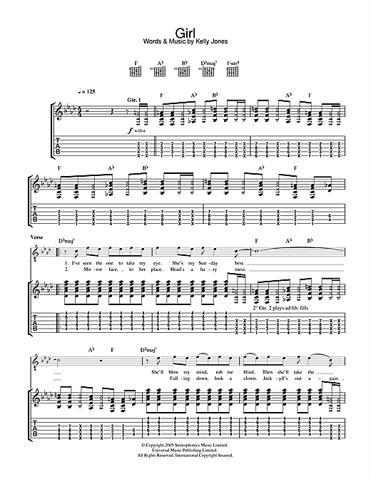 Stereophonics Girl sheet music notes and chords. Download Printable PDF.