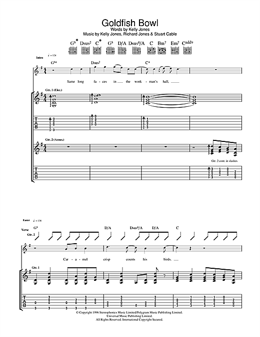 Stereophonics Goldfish Bowl sheet music notes and chords. Download Printable PDF.
