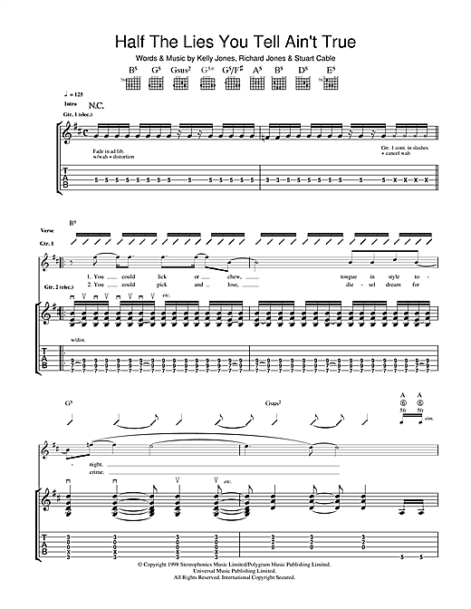 Stereophonics Half The Lies You Tell Ain't True sheet music notes and chords. Download Printable PDF.
