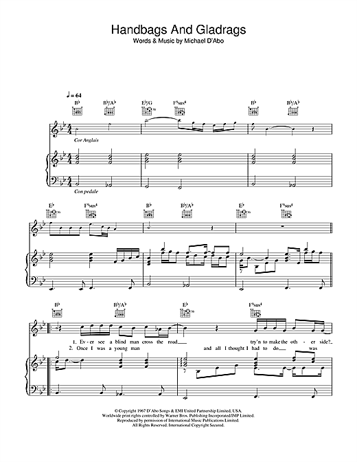 Stereophonics Handbags And Gladrags (theme from The Office) sheet music notes and chords. Download Printable PDF.