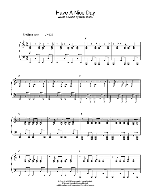 Stereophonics Have A Nice Day sheet music notes and chords. Download Printable PDF.