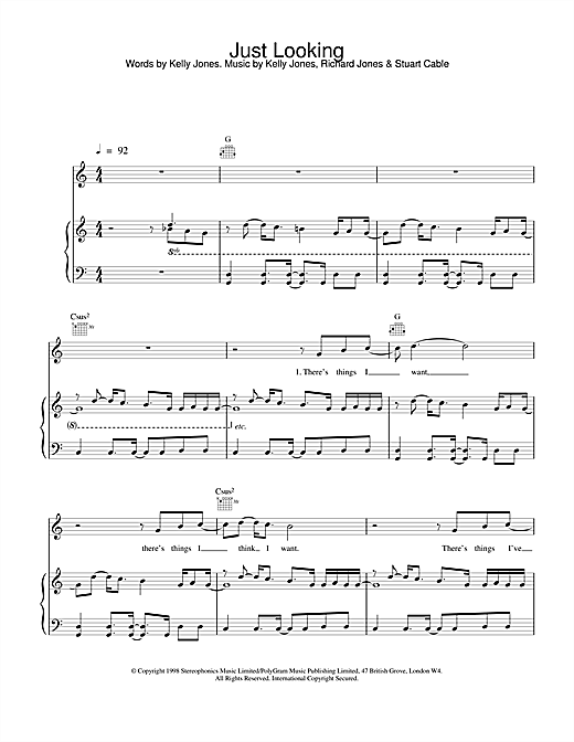 Stereophonics Just Looking sheet music notes and chords. Download Printable PDF.