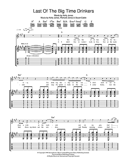 Stereophonics Last Of The Big Time Drinkers sheet music notes and chords. Download Printable PDF.