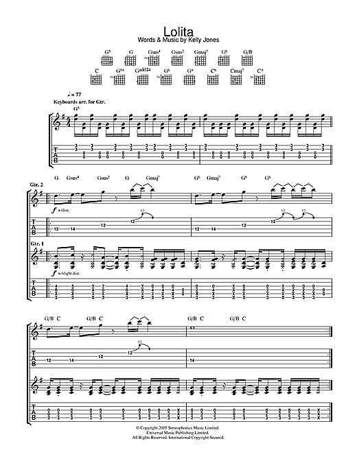 Stereophonics Lolita sheet music notes and chords. Download Printable PDF.