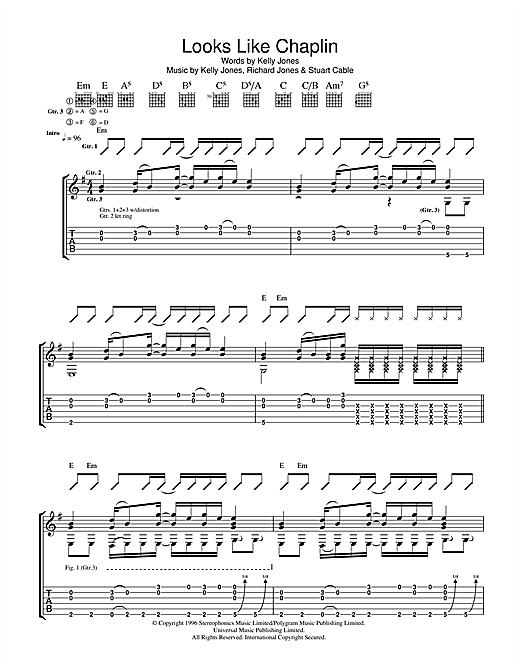 Stereophonics Looks Like Chaplin sheet music notes and chords. Download Printable PDF.