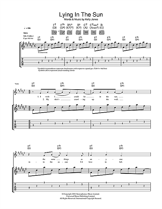 Stereophonics Lying In The Sun sheet music notes and chords. Download Printable PDF.