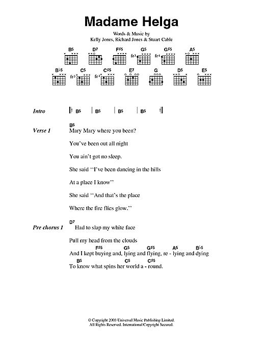 Stereophonics Madame Helga sheet music notes and chords. Download Printable PDF.