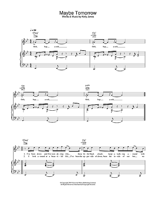 Stereophonics Maybe Tomorrow sheet music notes and chords