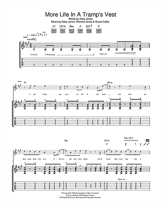 Stereophonics More Life In A Tramp's Vest sheet music notes and chords. Download Printable PDF.