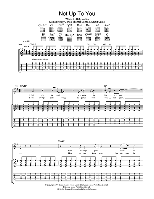 Stereophonics Not Up To You sheet music notes and chords. Download Printable PDF.