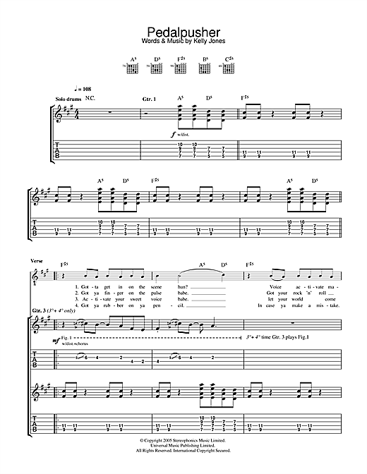 Stereophonics Pedalpusher sheet music notes and chords. Download Printable PDF.