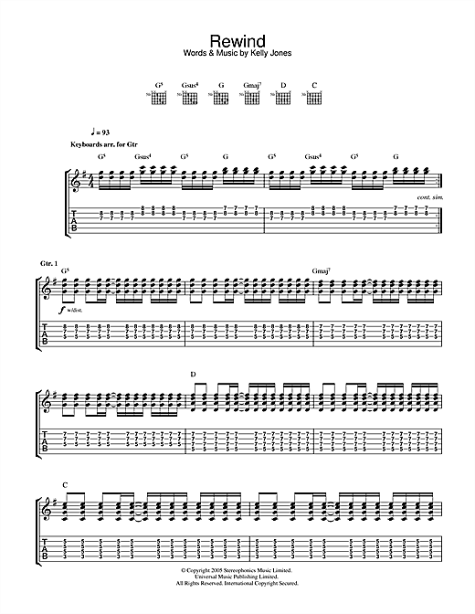 Stereophonics Rewind sheet music notes and chords. Download Printable PDF.