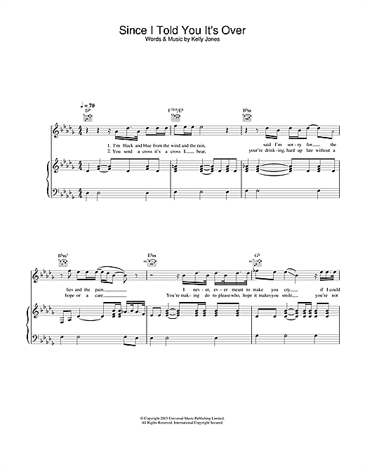 Stereophonics Since I Told You It's Over sheet music notes and chords. Download Printable PDF.