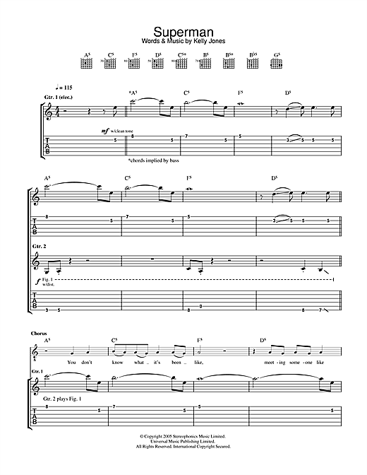 Stereophonics Superman sheet music notes and chords. Download Printable PDF.
