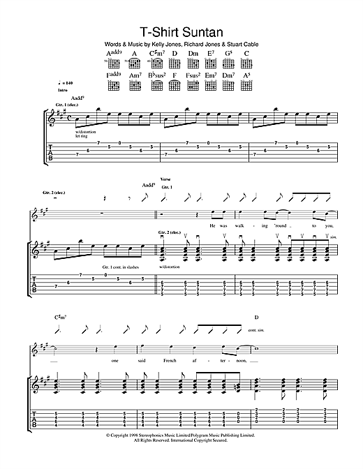 Stereophonics T-Shirt Suntan sheet music notes and chords. Download Printable PDF.