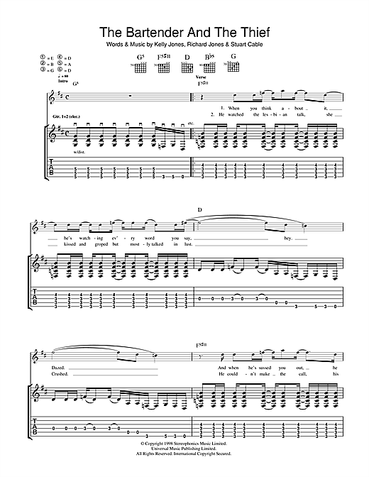Stereophonics The Bartender And The Thief sheet music notes and chords. Download Printable PDF.