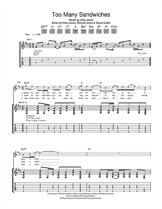 Stereophonics Too Many Sandwiches sheet music notes and chords. Download Printable PDF.