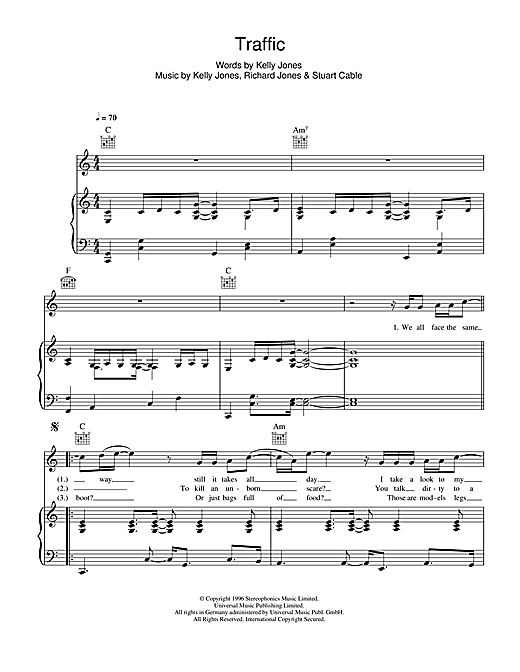 Stereophonics Traffic sheet music notes and chords. Download Printable PDF.