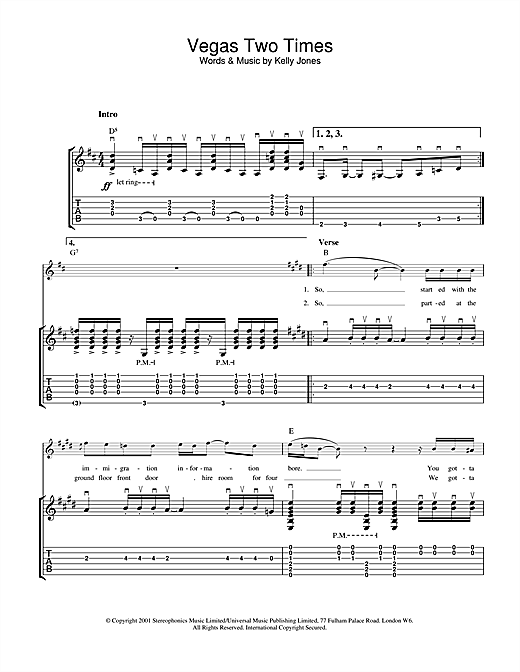 Stereophonics Vegas Two Times sheet music notes and chords. Download Printable PDF.