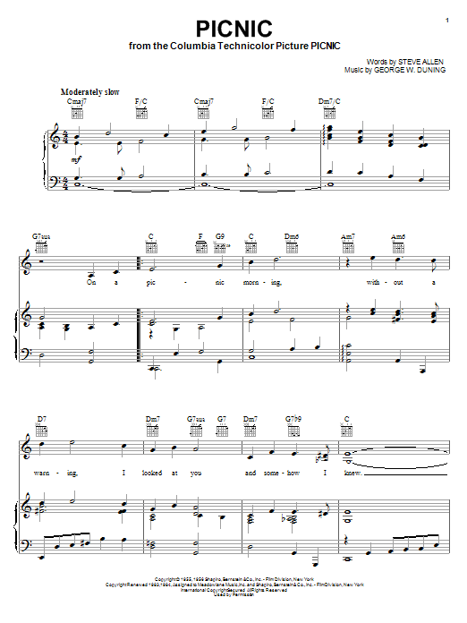Steve Allen Picnic sheet music notes and chords. Download Printable PDF.